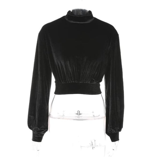 Velvet High Neck Pullover Crop Sweatshirt - Black / L - Crop Sweatshirt