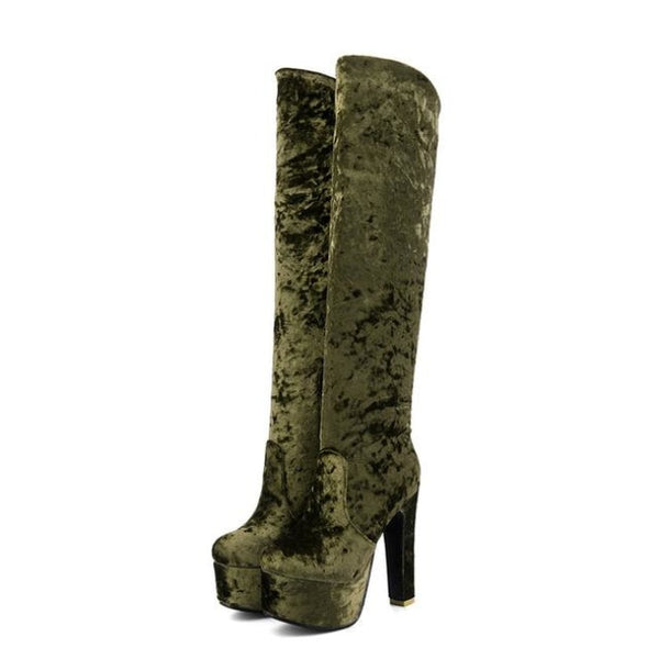 Velvet Knee-High Ultra Platform High Heel Boots - Green / 4.5 - Boots