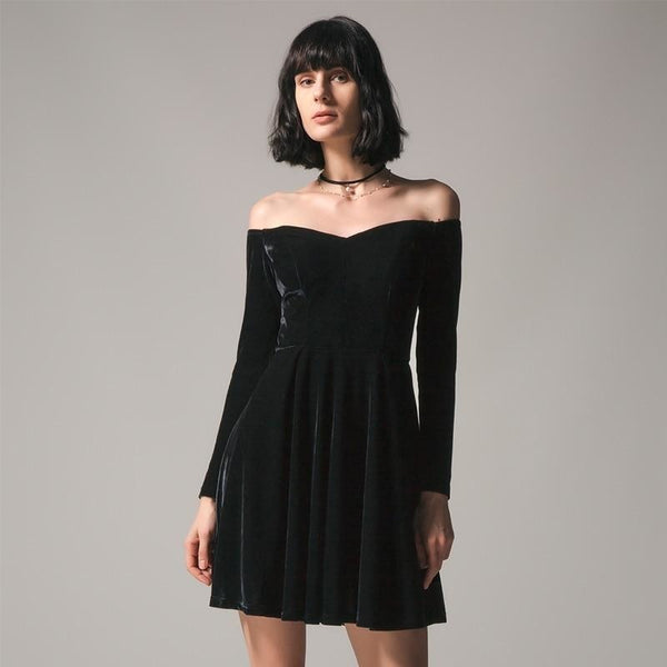velvet sweetheart off-shoulder flare dress - Black / S - Dress