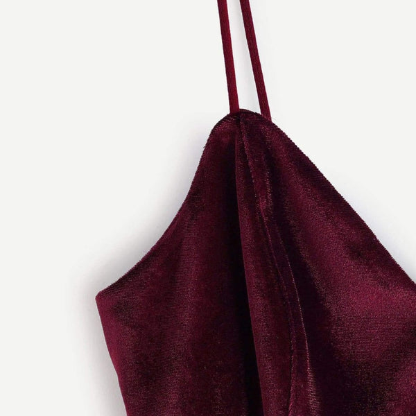 velvet zipper back cami crop top - Crop Top