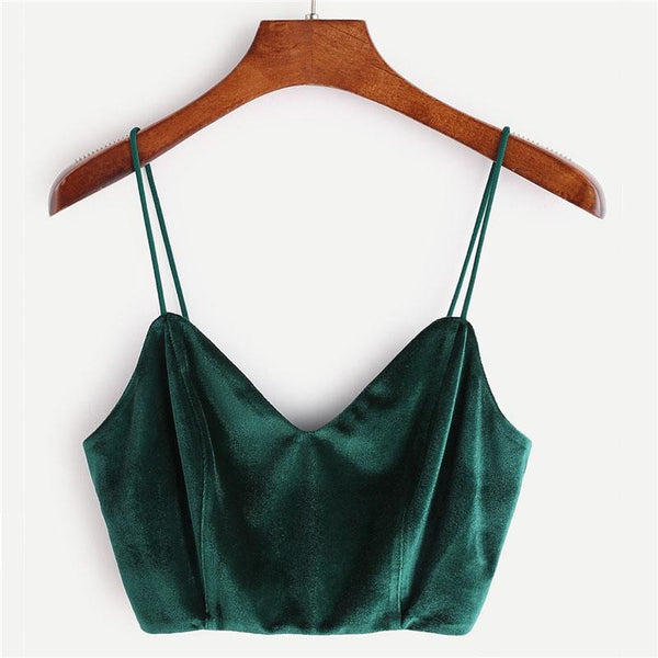 velvet zipper back cami crop top - Green / XS - Crop Top