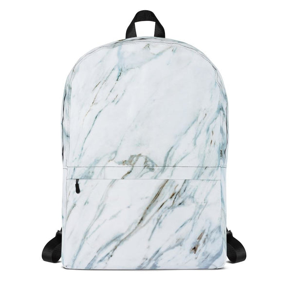 white and blue marble backpack - White - Backpack