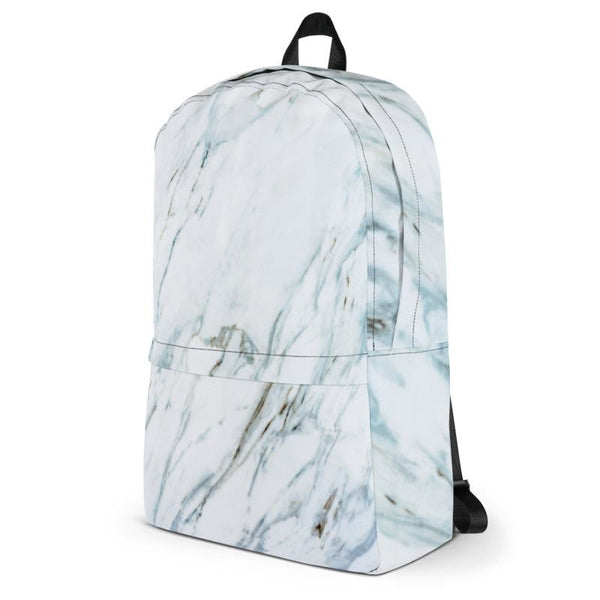 white and blue marble backpack - Backpack