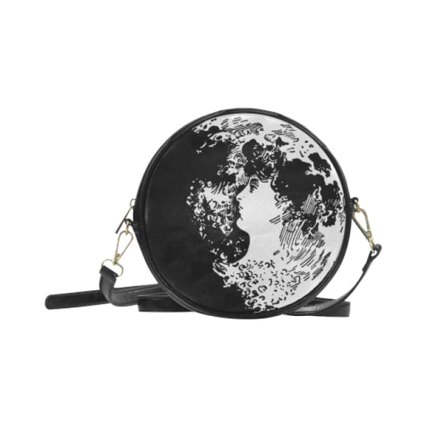 Woman In The Moon Faux Leather Round Crossbody Bag - Black - Purse