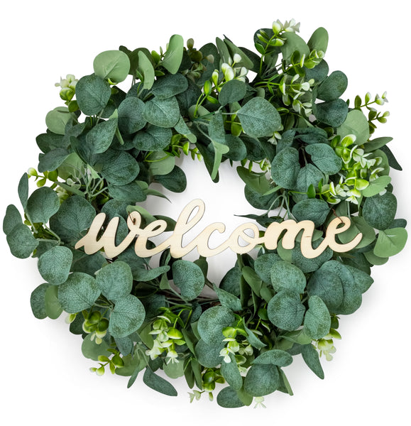 Eucalyptus Wreath with Wooden Welcome Sign