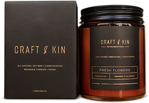 Amber Glass Scented Soy Candles