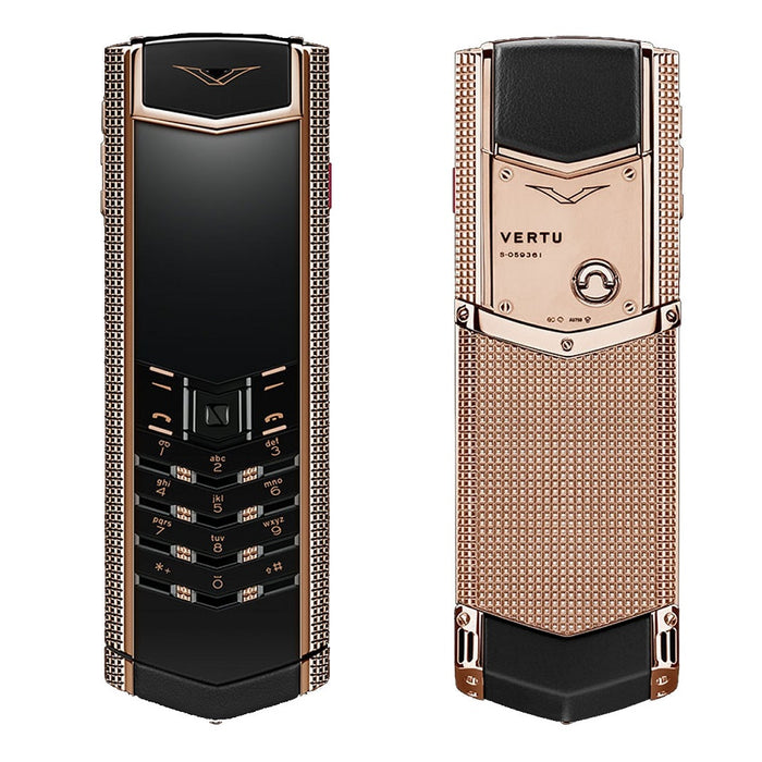 Vertu signature clous de paris red gold