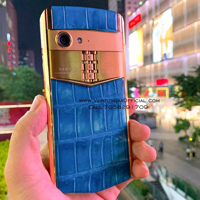Vertu Aster P 'Made To Order' in Gold Body Blue Leather | 6GB RAM + 256GB Storage