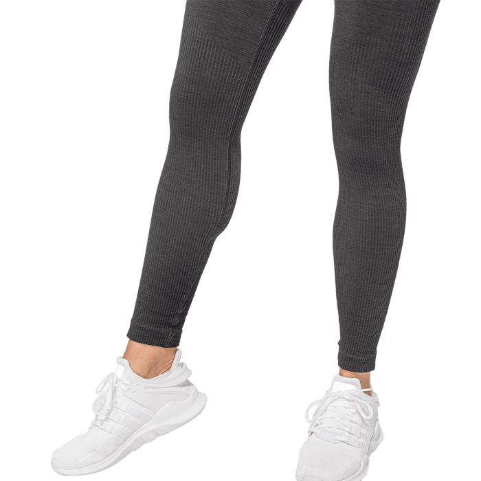 Rib Seamless Leggings - Black Melange