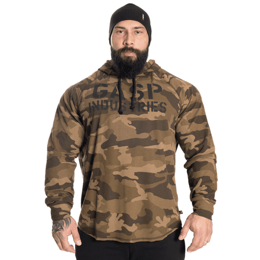 Long Sleeve Thermal Hoodie - Green Camo Print