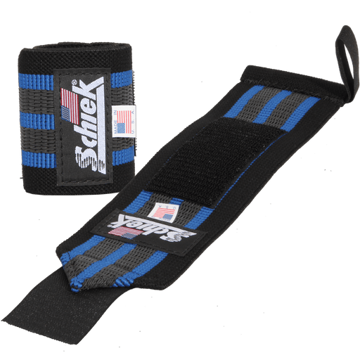 "12"" Heavy Duty Reinforced Wrist Wraps - Black/Blue"