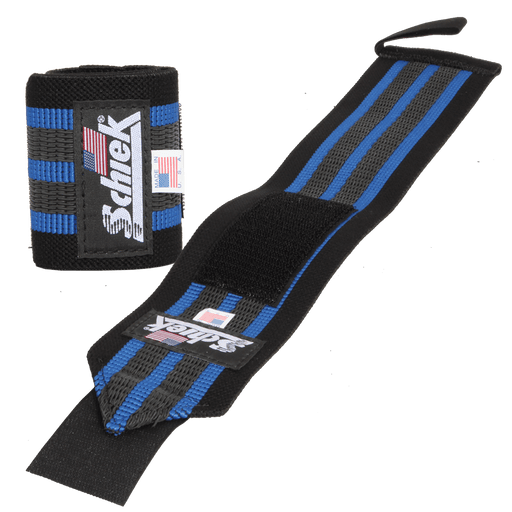 "18"" Heavy Duty Reinforced Wrist Wraps - Black/Blue"
