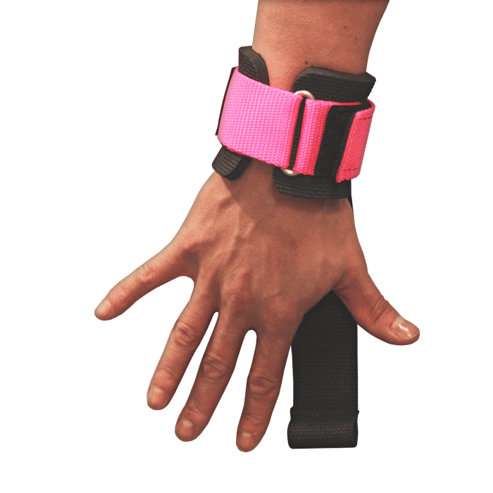Power Lifting Straps with Dowel - Pink
