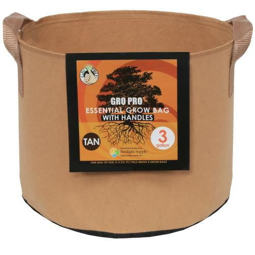 Grow Kings - Gro Pro Essential Round Fabric Pot w/ Handles 3 Gallon - Tan (72/Cs)