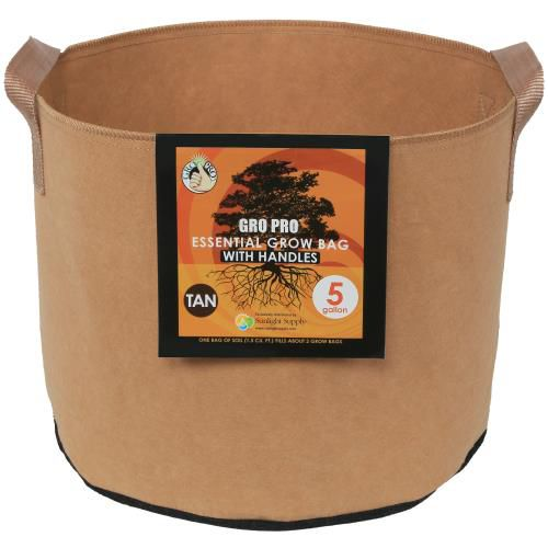 Grow Kings - Gro Pro Essential Round Fabric Pot w/ Handles 5 Gallon - Tan (90/Cs)