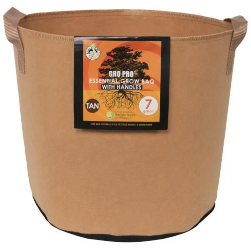 Grow Kings - Gro Pro Essential Round Fabric Pot w/ Handles 7 Gallon - Tan (84/Cs)