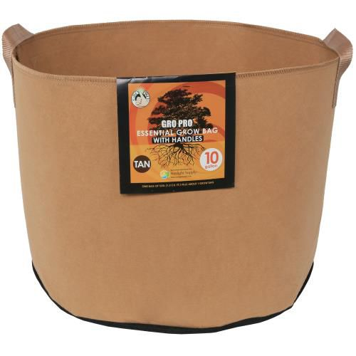 Grow Kings - Gro Pro Essential Round Fabric Pot w/ Handles 10 Gallon - Tan (60/Cs)