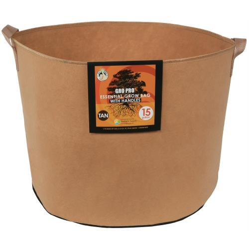 Grow Kings - Gro Pro Essential Round Fabric Pot w/ Handles 15 Gallon - Tan (48/Cs)