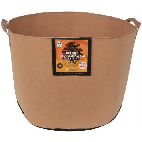 Grow Kings - Gro Pro Essential Round Fabric Pot w/ Handles 20 Gallon - Tan (42/Cs)