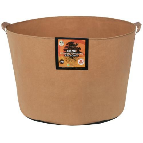 Grow Kings - Gro Pro Essential Round Fabric Pot w/ Handles 30 Gallon - Tan (30/Cs)