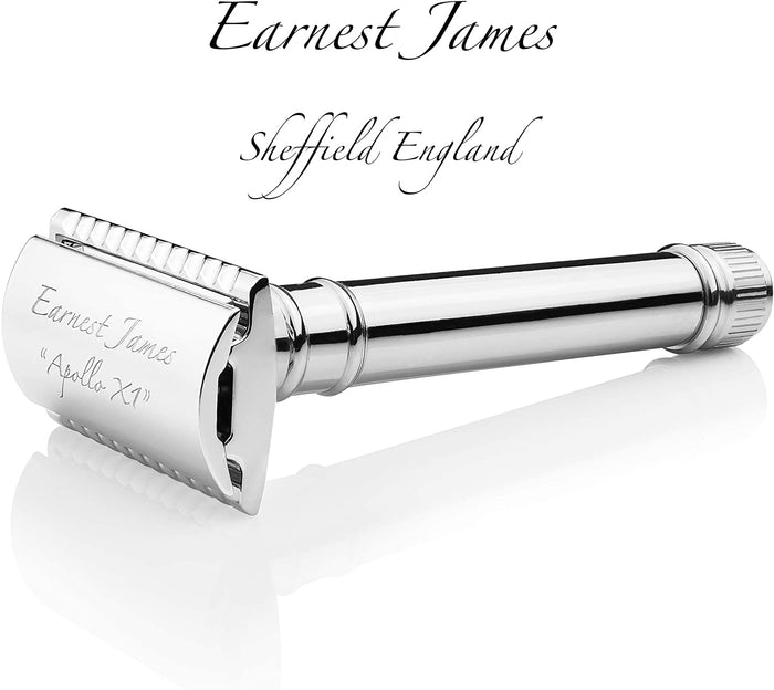 """Apollo XI"" - Premium Chrome 3-Piece Double Edge Safety Razor - Earnest James Sheffield England"