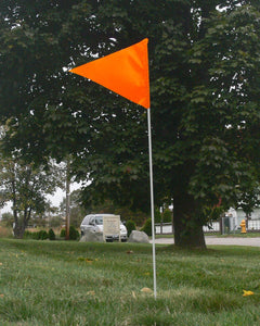 Fluorescent orange field marker flag on 6-foot white fiberglass pole.