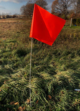 "Load image into Gallery viewer, Rectangular flag in Fluorescent Red/Orange on a 6-foot pole, 1/4"" diameter"