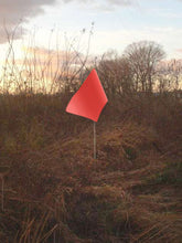 "Load image into Gallery viewer, Rectangular flag in fluorescent red orange color on 6-foot pole with 1/4"" diameter"