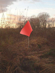 "Rectangular flag in fluorescent red orange color on 6-foot pole with 1/4"" diameter"