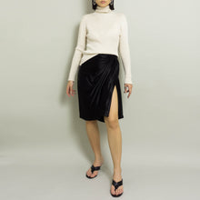 Load image into Gallery viewer, 1980's YVES SAINT LAURENT SATIN DRAPED WRAP SKIRT | BLACK | US 2