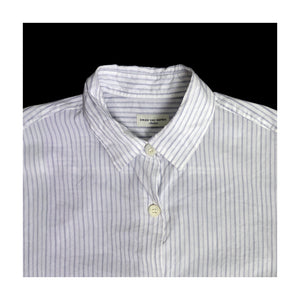 DRIES VAN NOTEN STRIPED SHORT SLEEVE SHIRT | WHITE/NAVY | S/M