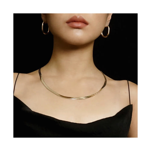 VINTAGE 14K GOLD-PLATED FLAT HERRINGBONE CHAIN NECKLACE