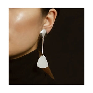 VINTAGE STERLING SILVER GEOMETRIC DROP EARRINGS