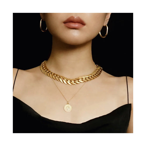 VINTAGE MONET MATTE GOLD-TONE CHAIN-LINK CHOKER NECKLACE
