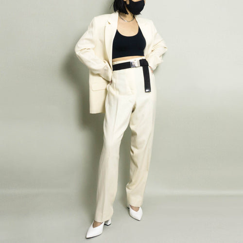 VINTAGE OVERSIZED WOOL PANT SUIT | IVORY