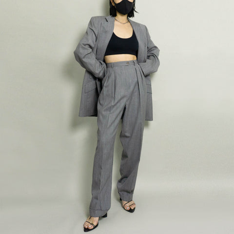 VINTAGE RALPH LAUREN WOOL PANT SUIT | GRAY HEATHER | US 10