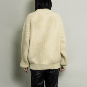 VINTAGE HAND-KNIT CHUNKY RIBBED SWEATER | NATURAL | S/M