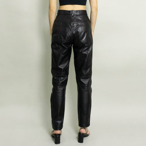 VINTAGE HIGH WAISTED LEATHER PANT | BLACK | 6P