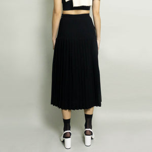VINTAGE PLEATED ACCORDION WOOL SKIRT | BLACK | US 2