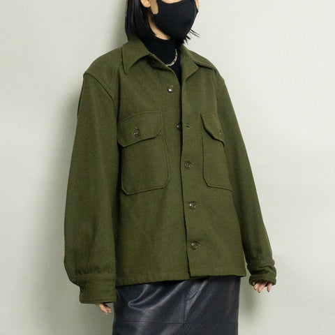 VINTAGE MILITARY WOOL SHIRT JACKET | OLIVE | S/M