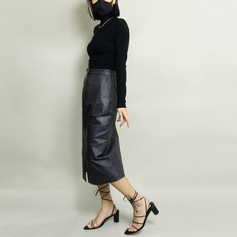VINTAGE GENUINE LEATHER SKIRT | DARK NAVY | US 6