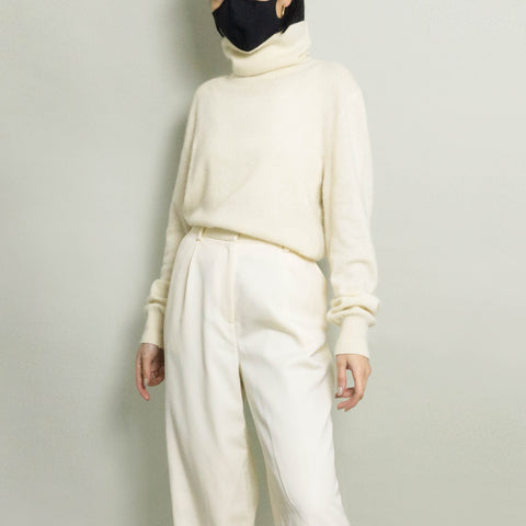 VINTAGE WOOL TURTLENECK | IVORY | S