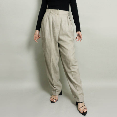 VINTAGE EVAN PICONE HIGH-WAISTED PLEATED DRESS PANT | OATMEAL/GRAY HEATHER | US 8