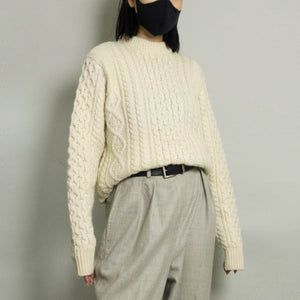 VINTAGE CHUNKY CABLE KNIT FISHERMAN SWEATER | IVORY | S/M