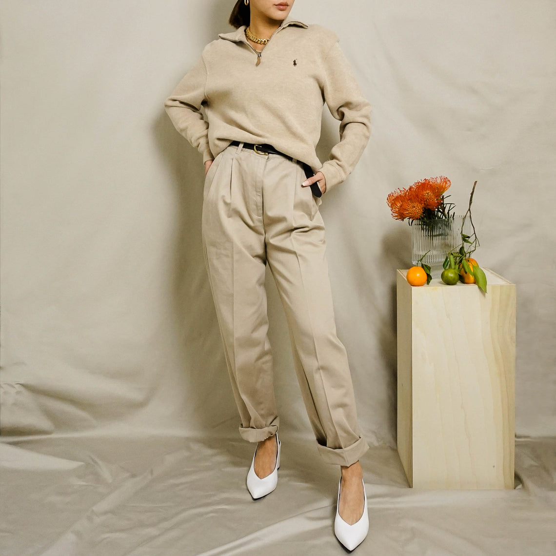 1990's LAUREN RALPH LAUREN PLEATED CHINOS | KHAKI | US 10