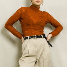Load image into Gallery viewer, 1990's SHEER KNIT MOCK NECK TOP | BURNT ORANGE | S