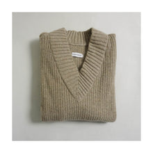 Load image into Gallery viewer, VINTAGE RIBBED V-NECK SWEATER | BEIGE | S/M