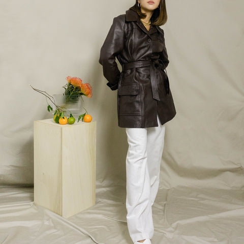 VINTAGE BELTED DEERSKIN LEATHER TRENCH COAT | DARK BROWN | S / M