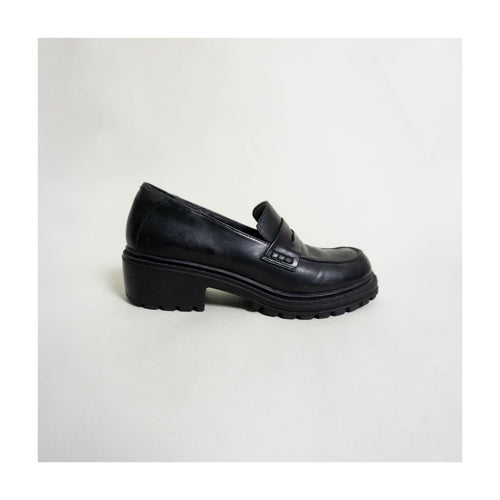 VINTAGE PENNY LOAFERS WITH LUG SOLE | BLACK | US 7.5