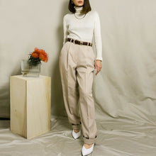 Load image into Gallery viewer, VINTAGE HIGH-WAISTED PLEATED DRESS PANTS | OATMEAL HEATHER | US 4-12